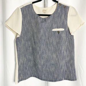 cremieux pocket blouse button sleeve cream blue S